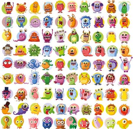 Gran conjunto de vectores de dibujos de diferentes personajes Vectores