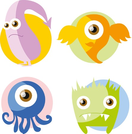 fictitious: Cartoon cute doodle monsters in flat design