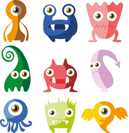 whimscal: Cartoon cute doodle monsters in flat design