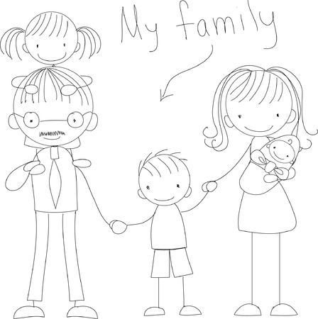 black boys: Vector childrens doodle of happy family Illustration