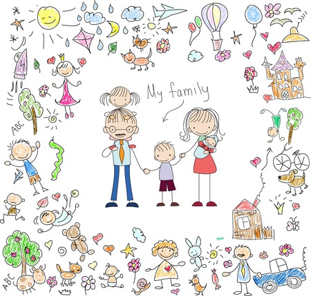 kitty: Vector childrens doodle of happy family Illustration