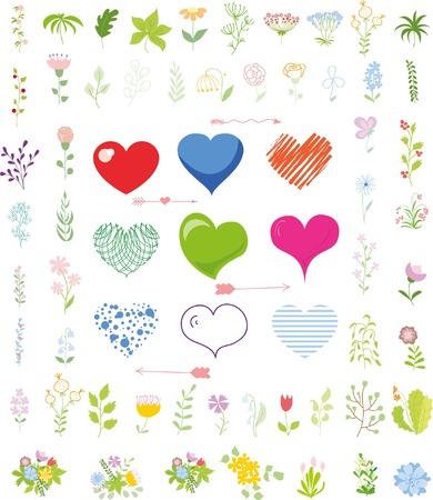 elementos: conjunto de corazones de San Valentín y los elementos florales