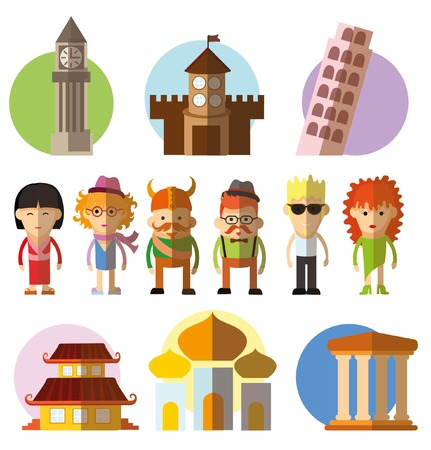 travel icons ans characters in flat design