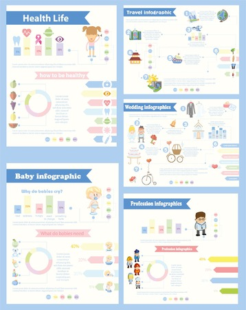Set of 4 different Infographics Health and sport life Illustration