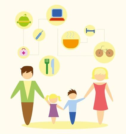 mama e hijo: Icono de la familia sobre fondo blanco en diseño plano Vectores