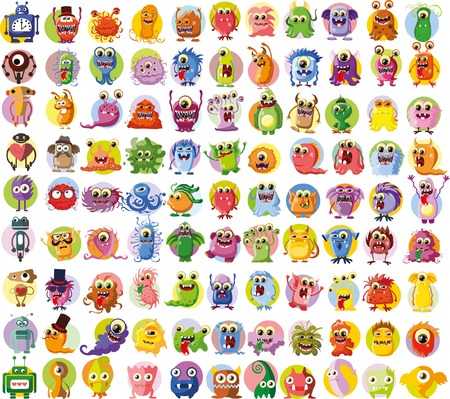 robot vector: Set of vector cute monsters and robots