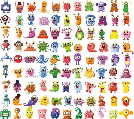 bacterias: Gran conjunto de vectores de dibujos de diferentes personajes Vectores