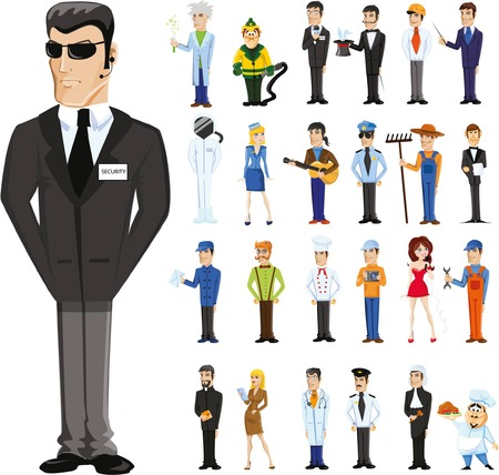 seguridad en el trabajo: Personajes de dibujos animados de diferentes profesiones