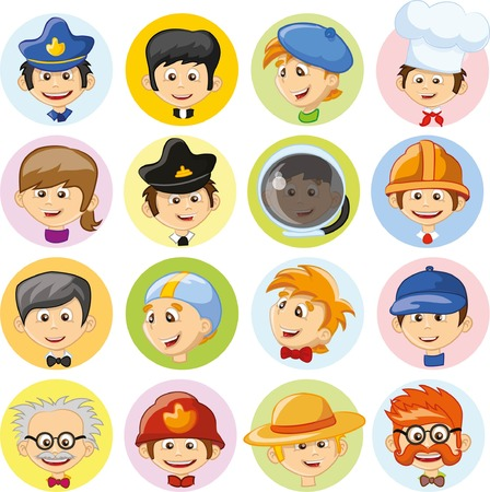professions: Cartoon characters of different professions