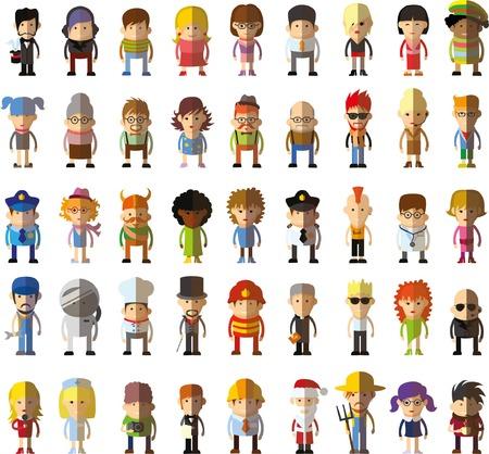 Conjunto de vector lindo personaje avatar iconos en diseño plano Foto de archivo - 43137803