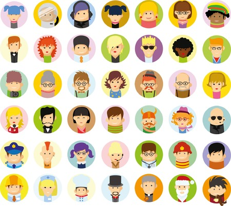 woman vector: Set of vector cute character avatar icons in flat design