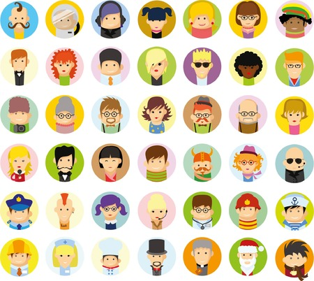 person icon: Set of vector cute character avatar icons in flat design