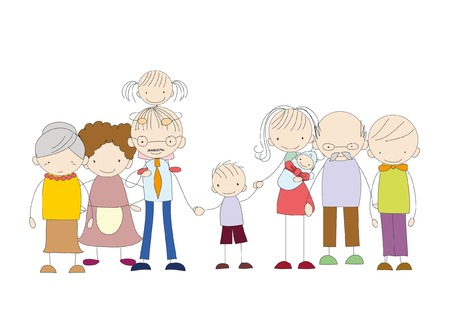 happy family: Vector childrens doodle of happy family Illustration