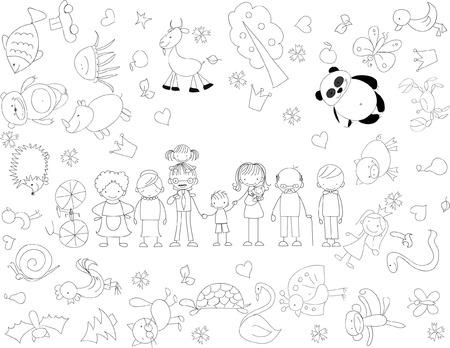 dessin enfants: Doodle de famille heureuse vectorielle des enfants Illustration
