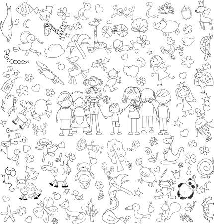 escuela infantil: Doodle de la familia feliz del vector de los niños