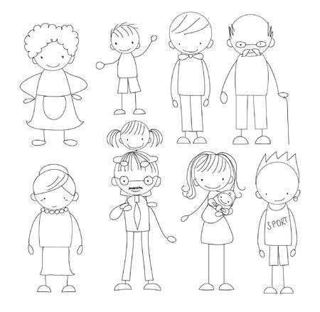 Vector children's doodle of happy family