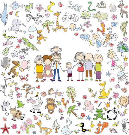 arbol genealógico: Doodle de la familia feliz del vector de los niños