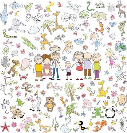 Vector Kinder doodle der glücklichen Familie Standard-Bild - 43966223