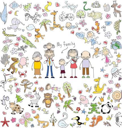 Doodle de la familia feliz del vector de los niños Foto de archivo - 44032475