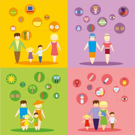 Business concept flat icons set of family