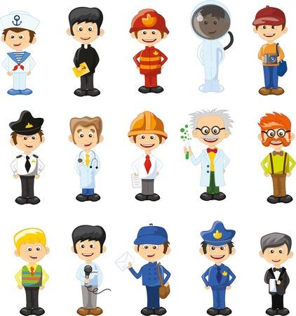 sacerdote: Personajes de vectores de dibujos animados de diferentes profesiones Vectores