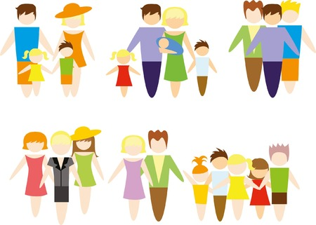 child holding sign: Set of family icons - mother, father, children Illustration