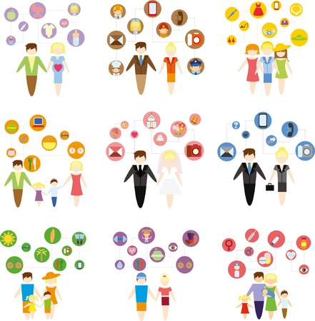 Business concept flat icons set of family, health