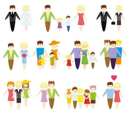 vector girl: Business concept flat icons set of family