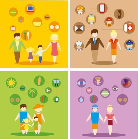 Konzept flache Ikonen Satz von Familie, Gesundheit