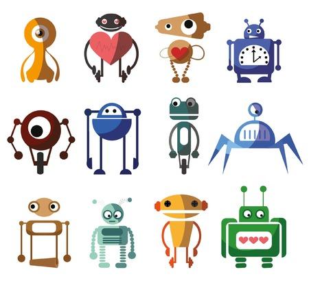 artificial leg: Set of 12 cute vector robots