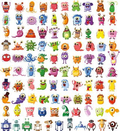 dieren: Grote vector set van tekeningen van verschillende personages Stock Illustratie