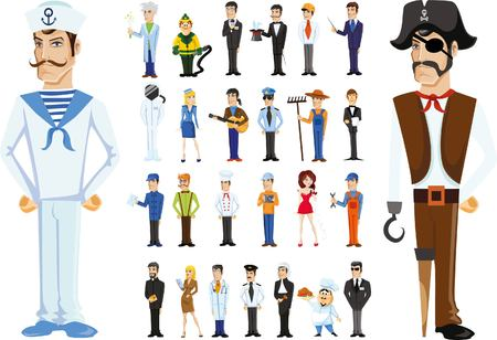 mailmen: Cartoon vector characters of different professions