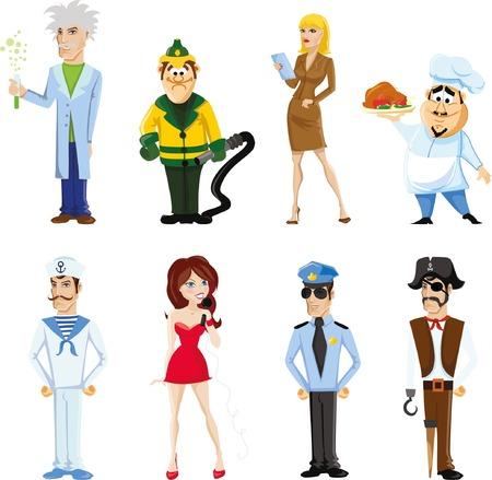 professions lib�rales: Cartoon vector characters of different professions