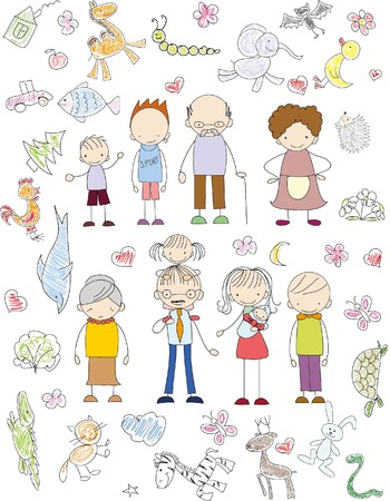 Vector Kinder doodle der glücklichen Familie Standard-Bild - 45265523