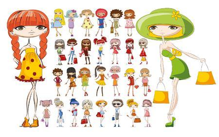 woman shopping bags: Cartoon fashionable girls
