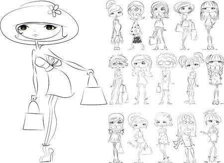 fashionable: Cartoon fashionable girls