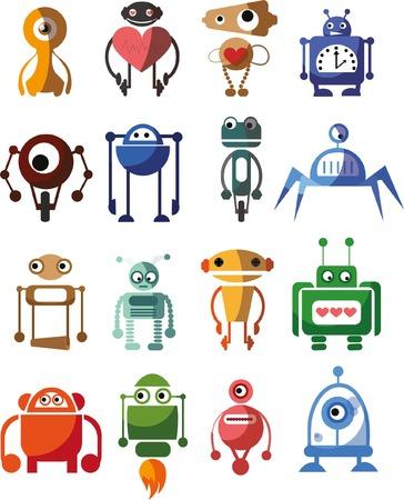 metal legs: Set of cute vector robots
