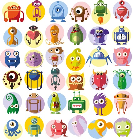 germs: Large vector set of drawings of different characters Illustration