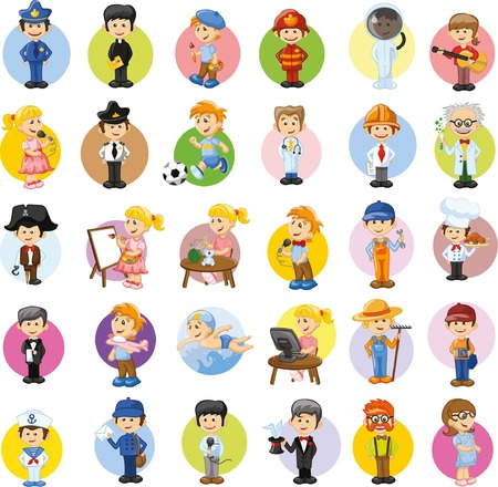 caps: Cartoon vector characters of different professions