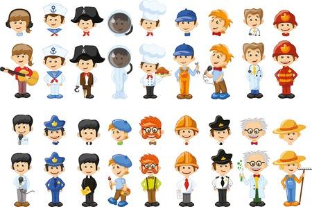 diferentes profesiones: Personajes de vectores de dibujos animados de diferentes profesiones Vectores