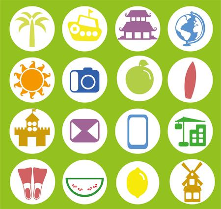 Big set of travel icons in flat style 向量圖像