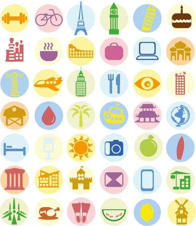 Set of travel icons in flat style  イラスト・ベクター素材