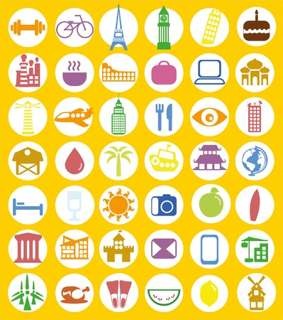Big set of travel icons in flat style Ilustrace