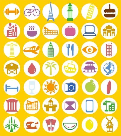 Gran conjunto de iconos de viaje en el estilo plano Foto de archivo - 46153594