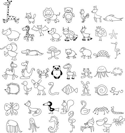Childrens drawings of doodle animals Illustration