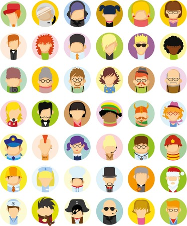 adolescent: Set of vector cute character avatar icons in flat design
