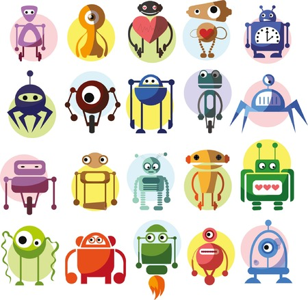 metal legs: Set of cute vector robots