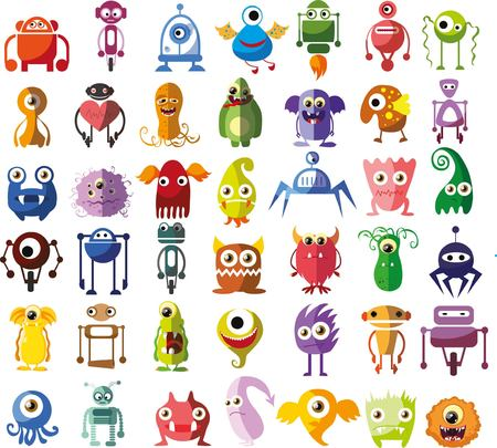 witty: Large vector set of drawings of different characters Illustration