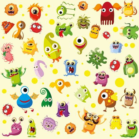 germs: Vector set of drawings of different characters isolated Illustration