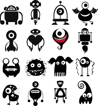 witty: Vector set of drawings of different characters isolated Illustration
